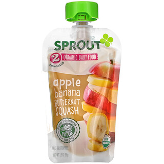 Sprout Organic, Baby Food, 6 Months & Up, Apple, Banana, Butternut Squash, 3.5 oz (99 g)