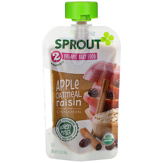 Sprout Organic, ベビーフード、生後6か月以上、リンゴオートミール、シナモン入り、99g(3.5オンス)
