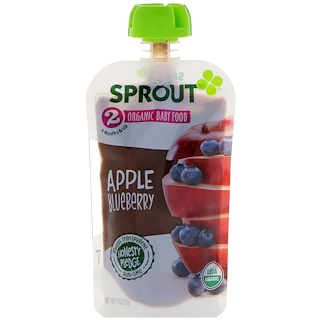 Sprout Organic, Baby Food, Stage 2, Apple, Blueberry, 4 oz (113 g)