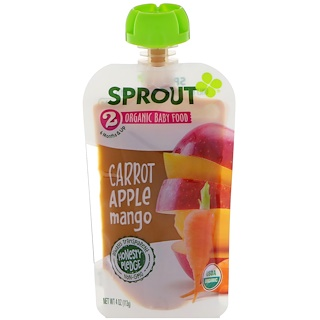 Sprout Organic, Baby Food, Stage 2, Carrot, Apple, Mango, 4 oz (113 g)