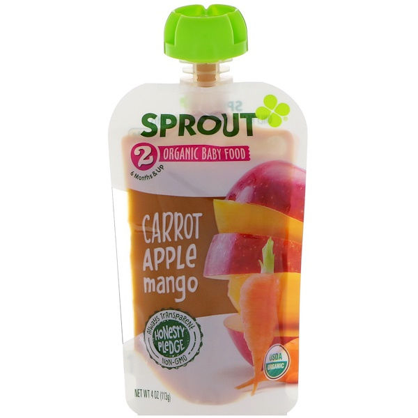 Sprout Organic, Baby Food, Stage 2, Carrot, Apple, Mango, 4 oz (113 g) (Discontinued Item)