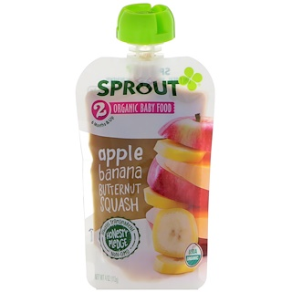 Sprout Organic, Baby Food, Stage 2, Apple, Banana, Butternut Squash, 4 oz (113 g)