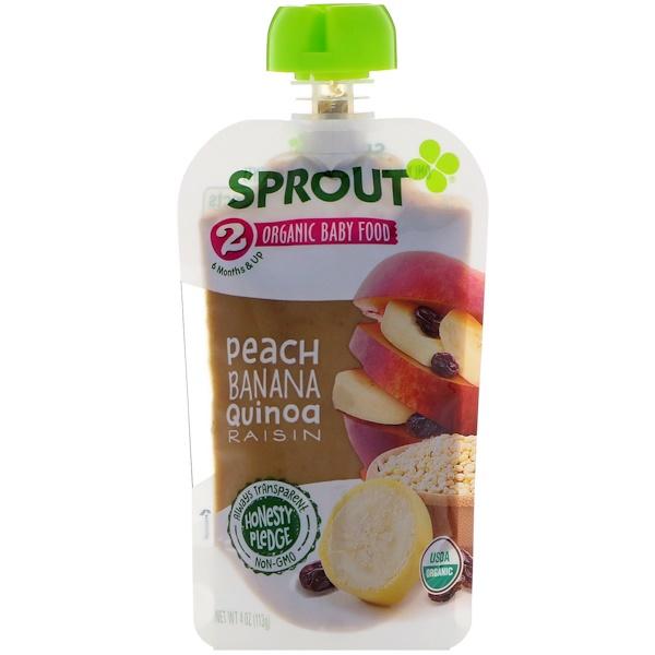 Sprout Organic, غذاء الطفل، المرحلة 2، الخوخ، الموز، الكينوا، الزبيب، 4 أونصات (113 جم)