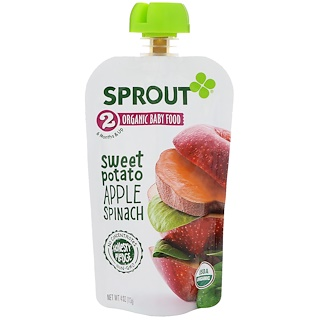 Sprout Organic, Baby Food, Stage 2, Sweet Potato, Apple Spinach, 4 oz (113 g)