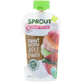Sprout Organic, Organic Baby Food, Stage 2, Sweet Potato, Apple Spinach, 4 oz (113 g)