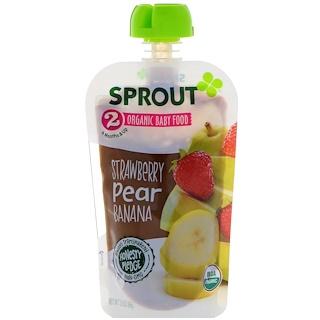Sprout Organic, Детское питание, Этап 2, Клубника, груша, банан, 3,5 унц. (99 г)