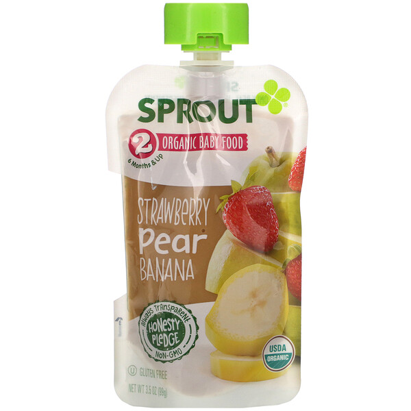 Baby Food, 6 Months & Up, Strawberry, Pear, Banana, 3.5 oz (99 g)