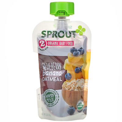 Sprout Organic Baby Food, 6 Months & Up, Blueberry, Banana, Oatmeal, 3.5 oz (99 g)
