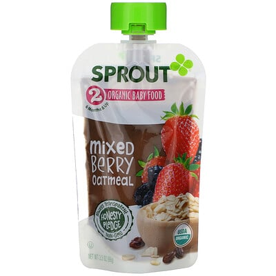 Sprout Organic Baby Food, 6 Months & Up, Mixed Berry Oatmeal, 3.5 oz (99 g)