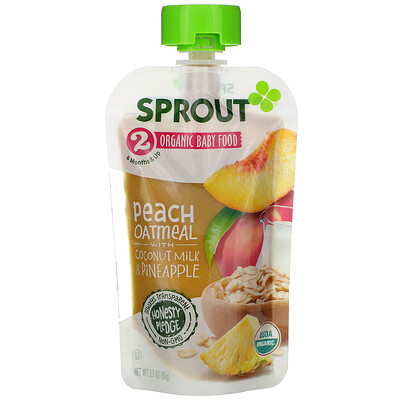 Sprout Organic Baby Food, 6 Months & Up, Peach Oatmeal with Coconut Milk & Pineapple, 3.5 oz (99 g)
