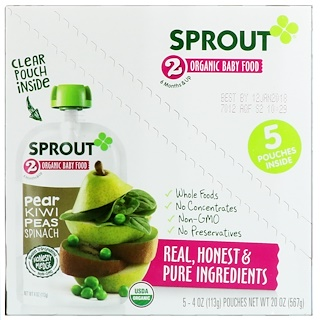 Sprout Organic, Детское питание, 2 ступень, груша, киви, горошек, шпинат, 5 упаковок, 4 унции (113 г) каждая
