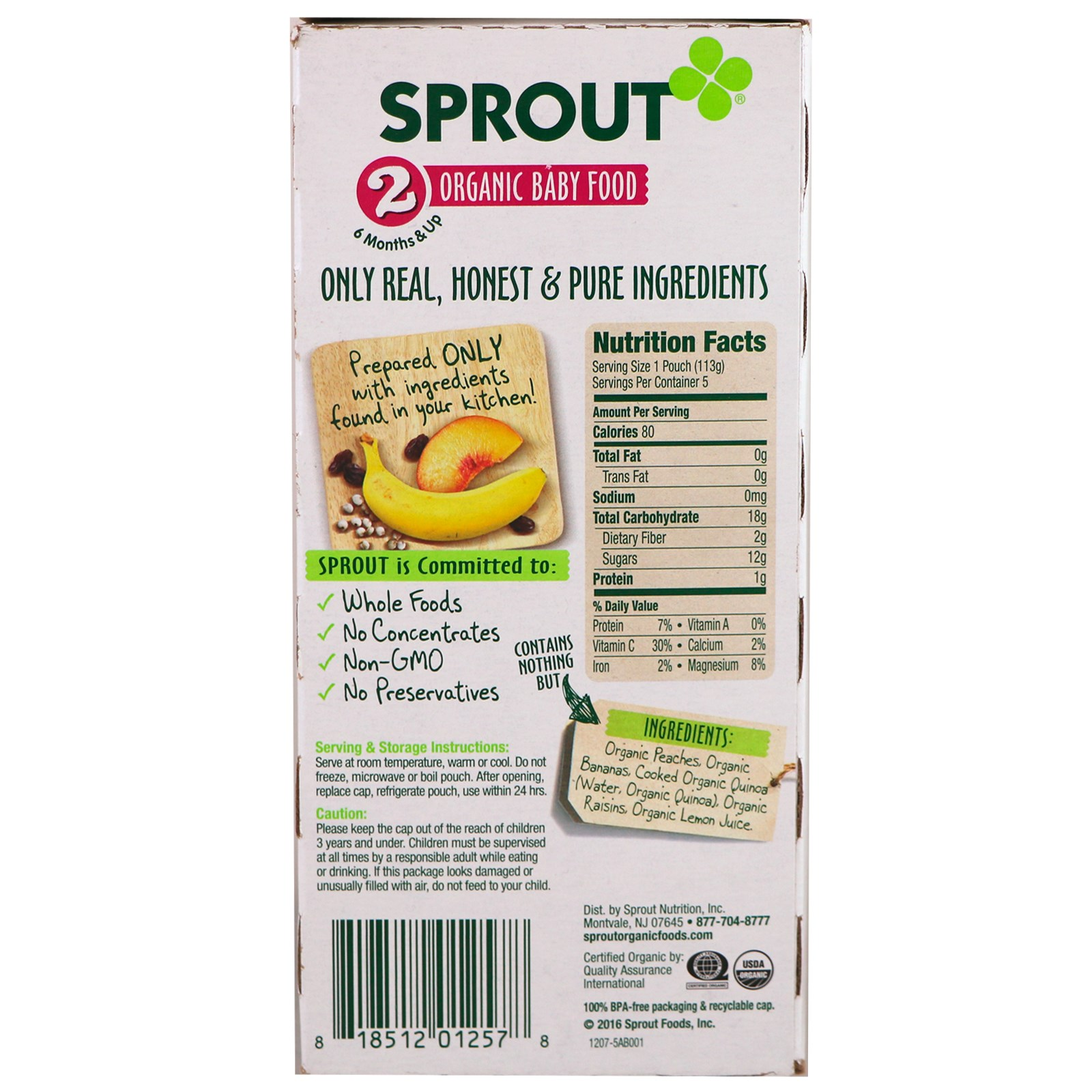 Sprout Organic, Baby Food, Stage 2, Peach, Banana, Quinoa, Raisin, 5 ...