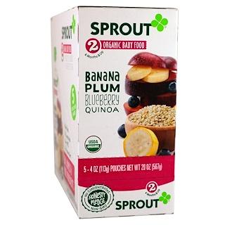 Sprout Organic, Детское питание, этап 2, банан, слива, черника, киноа, 5 пакетиков, 4 унций (113 г) каждый