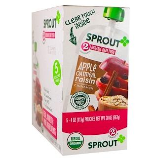 Sprout Organic, Детское питание, этап 2, яблоко, овсяные хлопья, калина с черникой, 5 пакетиков, 4 унции (113 г) каждый