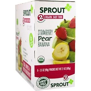 Sprout Organic, Детское питание, этап 2, клубника, груша, банан, 6 пакетиков, 3,5 унции (99 г) каждый