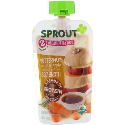 Купить Sprout Organic Детское питание, этап2, мускатная тыква, морковь и яблоко, 99г