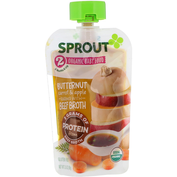 Sprout Organic, Baby Food, Stage 2, Butternut Carrot & Apple, 3.5 oz (99 g)
