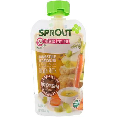 Купить Sprout Organic Детское питание, этап2, овощи с грядки и груша, 99г