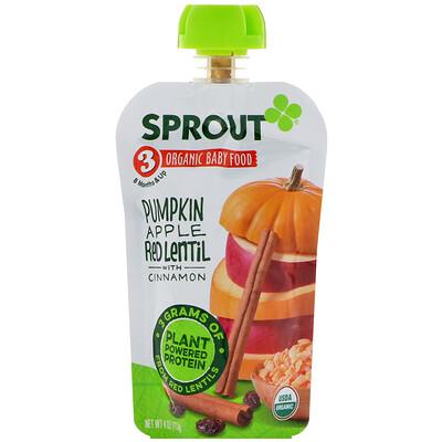 Sprout Organic 嬰兒食品,3 段,南瓜,蘋果,紅扁豆配肉桂,4 盎司(113 克)