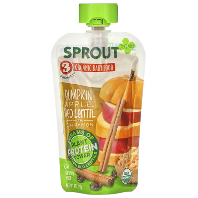 Sprout Organic Baby Food, 8 Months & Up, Pumpkin, Apple, Red Lentil with Cinnamon, 4 oz (113 g)