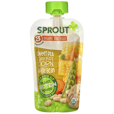 Sprout Organic Baby Food, 8 Months & Up, Sweet Pea, Carrot, Corn And White Bean, 4 oz ( 113 g)