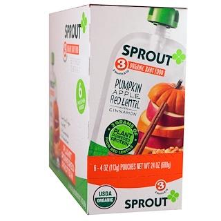 Sprout Organic, Детское питание, этап 3, тыква, яблоко, красная чечевица с корицей, 6 пакетов по 4 унции (113 г)