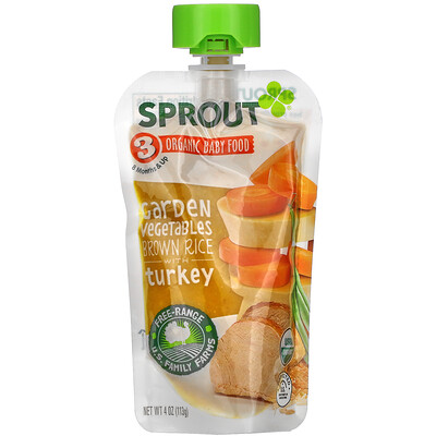 Sprout Organic Organic Baby Food, 8 Months & Up, Garden Vegetables, Brown Rice with Turkey, 4 oz (113 g)
