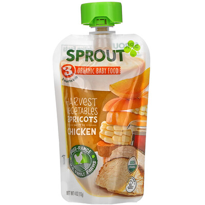 Sprout Organic Baby Food, 8 Months & Up, Harvest Vegetables Apricots with Chicken, 4 oz (113 g)