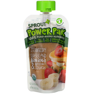 Sprout Organic, Power Pak, 12 Months & Up, Strawberry with Superblend Banana & Butternut Squash, 4.0 oz (113 g)