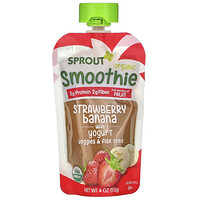 Sprout Organic, Smoothie, Strawberry Banana with Yogurt, Veggies & Flax Seed, 4 oz ( 113 g)