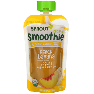 Sprout Organic Smoothie, Peach Banana with Yogurt, Veggies & Flax Seed, 4 oz (113 g)