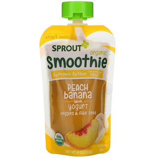 Sprout Organic, Smoothie, Peach Banana with Yogurt, Veggies & Flax Seed, 4 oz (113 g)