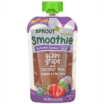 Sprout Organic Smoothie, Berry Grape with Coconut Milk, Veggies & Flax Seed, 4 oz ( 113 g)