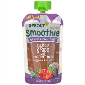 Sprout Organic, Smoothie, Berry Grape with Coconut Milk, Veggies & Flax Seed, 4 oz ( 113 g)
