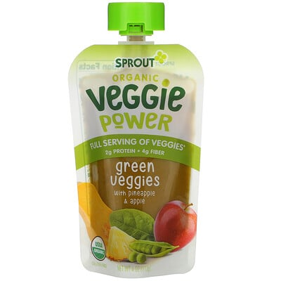 Sprout Organic Veggie Power, Green Veggies with Pineapple & Apple, 4 oz (113 g)