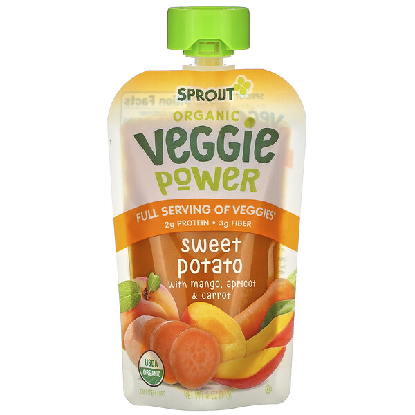 Sprout Organic, Veggie Power, Sweet Potato with Mango, Apricot & Carrot, 4 oz (113 g)