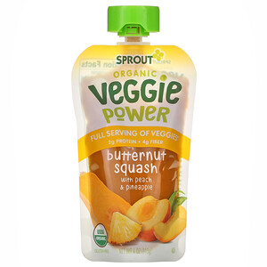 Sprout Organic, Veggie Power, Butternut Squash with Peach & Pineapple, 4 oz ( 113 g)