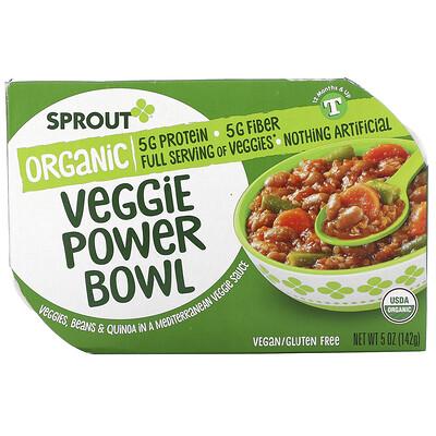Sprout Organic Veggie Power Bowl, 12 Months & Up, Veggies, Beans & Quinoa In A Mediterranean Veggie Sauce, 5 oz ( 142 g)