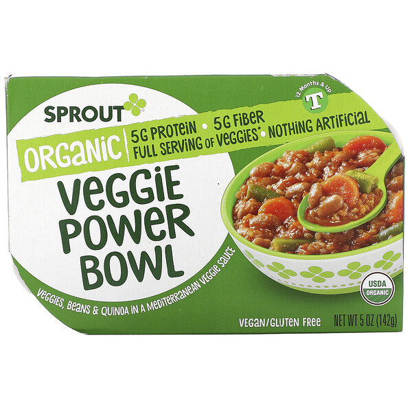 Veggie Power Bowl, 12 Months & Up, Veggies, Beans & Quinoa In A Mediterranean Veggie Sauce, 5 oz ( 142 g)