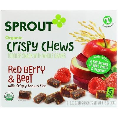 Хрустящие тянучки, красные ягоды и свекла, 5 пакетиков по 0,63 унции (18 г)