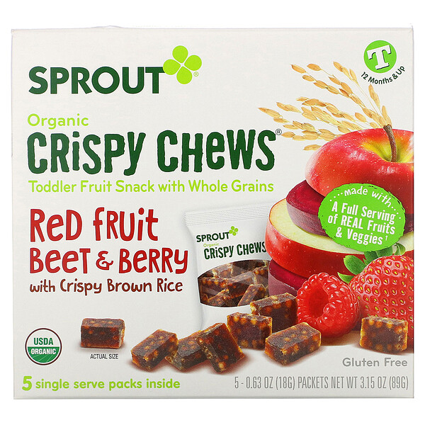 Crispy Chews, 12 Months & Up, Red Fruit Beet & Berry with Crispy Brown Rice, 5 Packets, 0.63 oz (18 g) Each