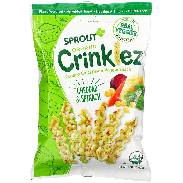 Crinklez, Popped Chickpea & Veggie Snack, 12 Months & Up, Cheddar & Spinach, 1.48 oz (42 g)