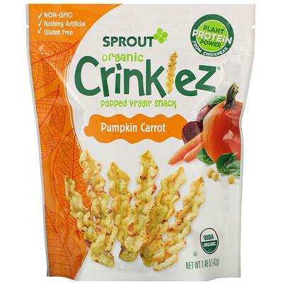 Купить Sprout Organic Crinklez, хрустящий овощной снек, тыква и морковь, 42г