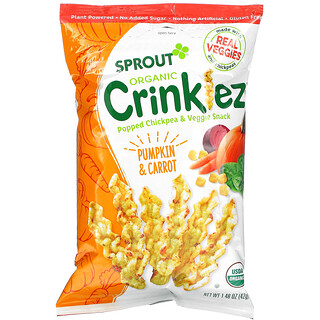 Sprout Organic, Crinklez, Popped Chickpea & Veggie Snack, 12 Months & Up, Pumpkin & Carrot, 1.48 oz (42 g)