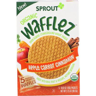 Купить Sprout Organic Вафли Wafflez, яблоко, морковь и корица, 5упаковок, 18г
