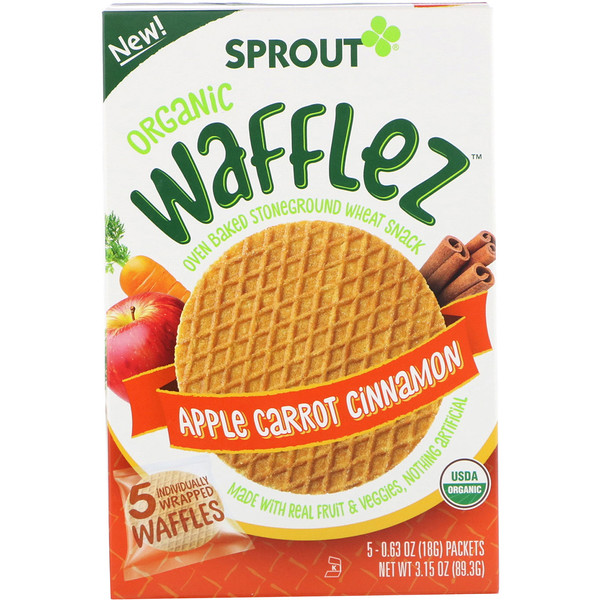 Wafflez, Apple Carrot Cinnamon, 5 Packets, 0.63 oz (18 g)