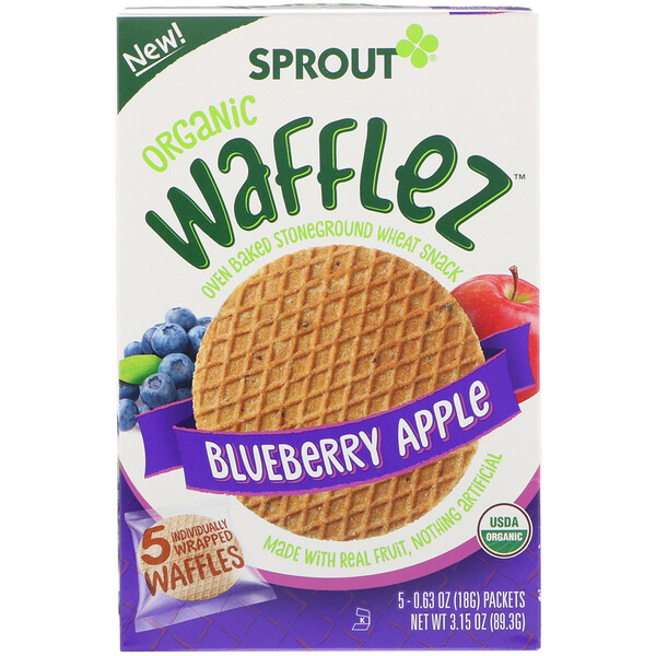 Sprout Organic, Wafflez, Blueberry Apple, 5 Packets, 0.63 oz (18 g) (Discontinued Item)