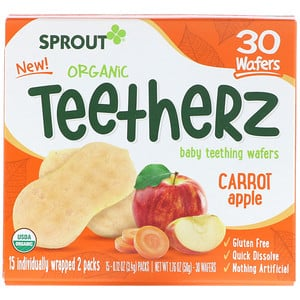 Sprout Organic, Teetherz, Baby Teething Wafers, Carrot Apple, 30 Wafers отзывы