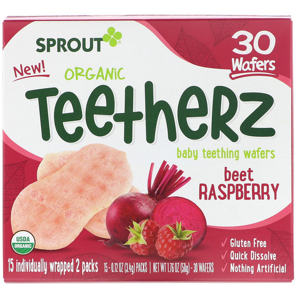 Sprout Organic, Teetherz, Baby Teething Wafers, Beet Raspberry, 30 Wafers (Discontinued Item)