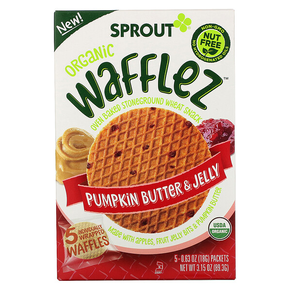 Wafflez, Pumpkin Butter & Jelly, 5 Packets, 0.63 oz (18 g)